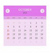 Calendar monthly october 2015 in flat design