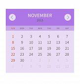 Calendar monthly november 2015 in flat design