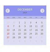 Calendar monthly december 2015 in flat design