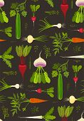 Root Vegetables with Leafy Tops Dark Seamless Pattern Background