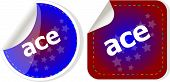 Ace Stickers Set, Icon Button Isolated On White