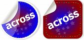 Across Stickers Set, Icon Button Isolated On White