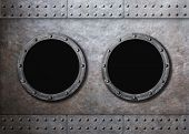image of ironclad  - submarine old ship two portholes background - JPG