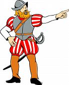 foto of conquistadors  - Illustration of a spanish conquistador pointing looking to side on isolated white background done in cartoon style - JPG