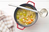 pic of vegetable soup  - vegetable soup with pasta in pot - JPG