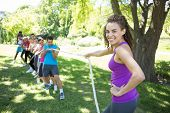 image of tug-of-war  - Fitness group playing tug of war on a sunny day - JPG
