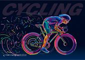 picture of race track  - Professional cyclist involved in a bike race - JPG