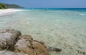 picture of crystal clear  - Beautiful white sand beach and crystal clear water of Koh Tachai Similan National Park Thailand - JPG
