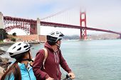 stock photo of exercise bike  - Golden gate bridge  - JPG