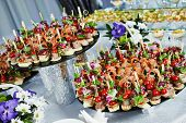picture of catering service  - catering services background with snacks on guests table in restaurant at event party - JPG