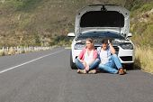 pic of nervous breakdown  - Couple after a car breakdown at the side of the road - JPG
