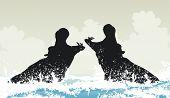 stock photo of hippopotamus  - EPS8 editable vector illustration of two hippopotamuses fighting in water - JPG
