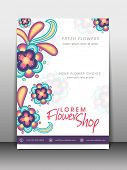 picture of flower shop  - Colorful flowers decorated flyer - JPG