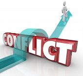 picture of stop fighting  - Arrow over word Conflict as a person tries to avoid confrontation - JPG