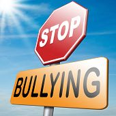 stock photo of school bullying  - stop bullying no bullies prevention against school work or in the cyber internet harassment - JPG