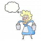 foto of milkmaid  - cartoon happy milkmaid - JPG