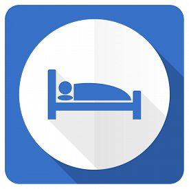 stock photo of flat-bed  - hotel blue flat icon bed sign  - JPG
