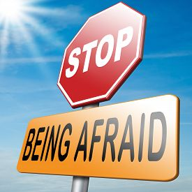 stock photo of panic  - stop being afraid have no fear fear for snakes height needles spiders darkness phobia panic attack - JPG