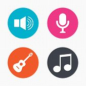 stock photo of musical symbol  - Circle buttons - JPG