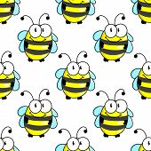stock photo of bee cartoon  - Cartoon bee characters seamless pattern background with striped body and funny tiny wings - JPG