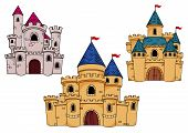 foto of fortified wall  - Fairytale fortified castles with watchtowers - JPG