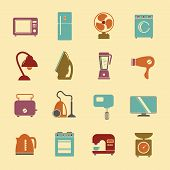 Постер, плакат: Set Of Household Appliances Flat Icons With A Washing Machine Stove Fridge Lamp Kettle Hairdryer Mix