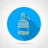 image of bottle water  - Blue round flat design vector icon with white line potable water  bottle for water cooler on gray background - JPG