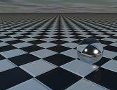picture of chessboard  - abstract surreal background with chessboard glass ball ans sky with copy space - JPG