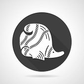 foto of butterfly fish  - Black round flat design vector icon with white silhouette striped butterfly - JPG