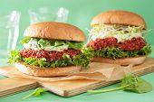 image of quinoa  - vegan beet and quinoa burger with avocado dressing - JPG