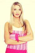 pic of apron  - Blonde woman in a kitchen apron - JPG