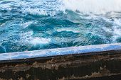 foto of bannister  - ocean surf and the old quay - JPG