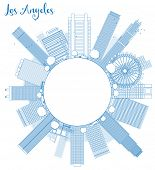 stock photo of blue angels  - Outline Los Angeles Skyline with Blue Buildings and copy space - JPG