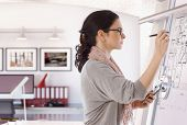 stock photo of concentration  - Focused casual caucasian female architect working at drawing board with pen in hand - JPG