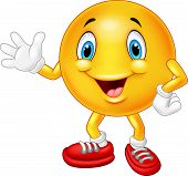foto of emoticons  - Vector illustration of Cartoon emoticon waving hand - JPG