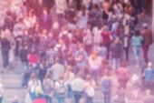 General Public Opinion Blur Background, Aerial View Of Crowd poster