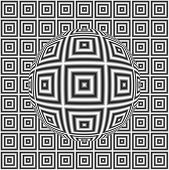 image of optical  - Digitally generated abstract optical illusion with sphere and effect of shimmering - JPG
