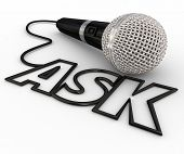 image of interview  - Ask word spelled out in letters formed by a microphone cord to illustrate questions and answers - JPG