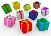 3d gift boxes colorful