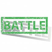 pic of battle  - Green stamp with word BATTLE and shadow - JPG