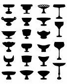 image of fruit bowl  - Black silhouettes of fruit bowls - JPG