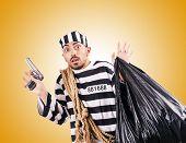 picture of prison uniform  - Convict criminal in striped uniform - JPG