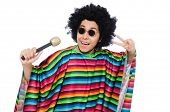 picture of maracas  - Funny mexican wearing poncho with maracas isolated on white - JPG