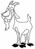 picture of billy goat  - Outlined billy goat illustration for coloring books - JPG
