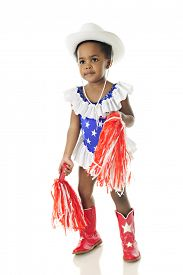 picture of pom poms  - An adorable 2 year old cheerleader in a star studded red - JPG