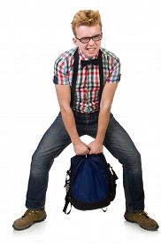stock photo of heavy bag  - Student with heavy bag isolated on white - JPG
