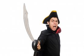 image of pirate sword  - One eyed pirate with sword isolated on white - JPG