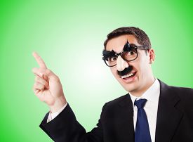 picture of moustache  - Funny businessman with eyebrows and moustache - JPG