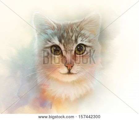 poster of Cute cat. Watercolor portrait of a cat. Drawing of a cat with yellow eyes executed in watercolor. Good for print T-shirt. Hand painted watercolor cat illustration. Art background banner for pet shop.