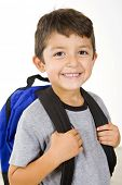 Little boy with his book bag